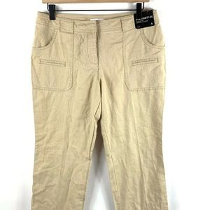 New York And Company Womens Sz 4 Linen Crop Pant C